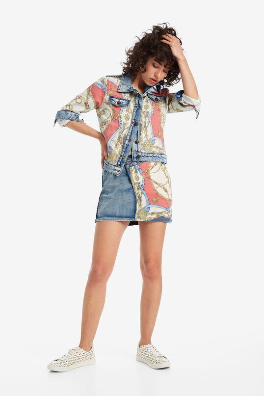 Denim and cotton combination skirt | Desigual