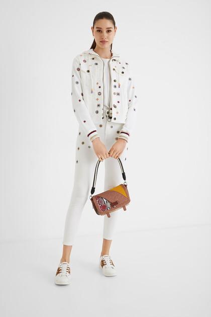 Jeansjacke im Slim Fit mit Blumen mit Sweat-Ärmeln
