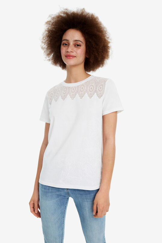 Black floral T-shirt White Flower | Desigual