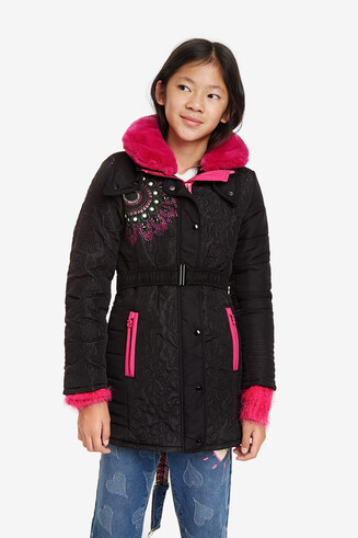 Down jacket detachable collar