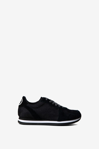 Logomania nylon and suede sneakers