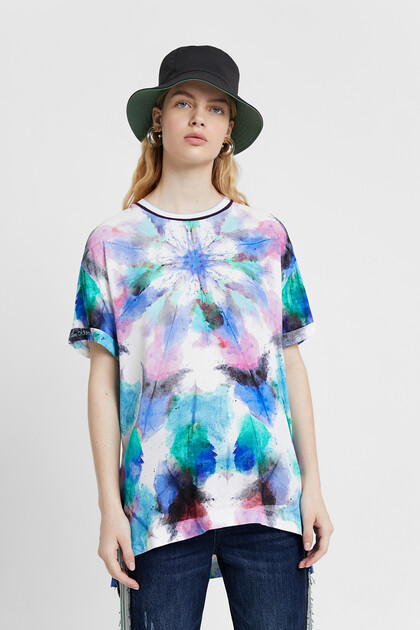 Blouse with faded tie-dye