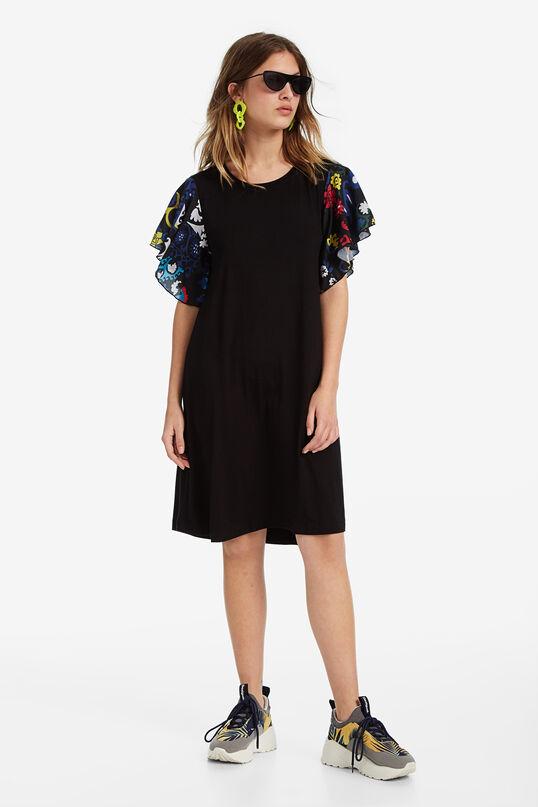 Black dress with printed ruffled sleeves | Desigual