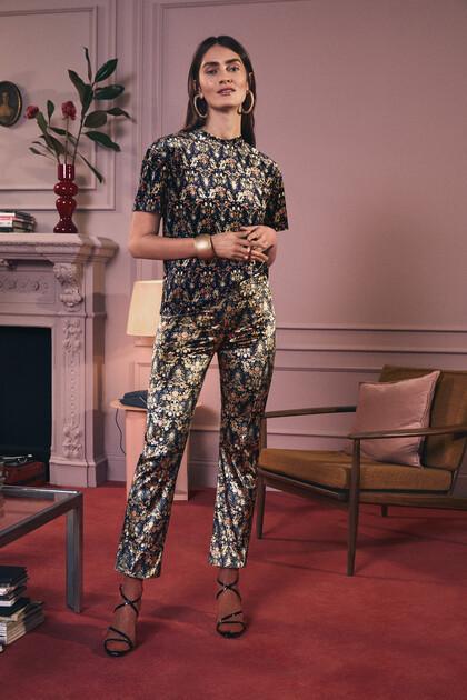 Pantalon imprimé ceinture élastique