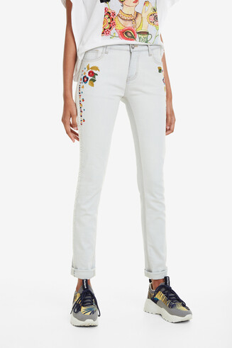 Pantalon denim cropped bleach Volos