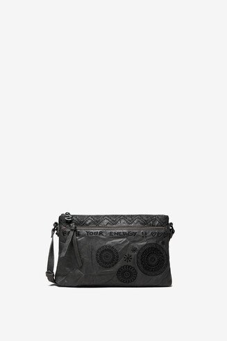 Leather-effect mandalas bag