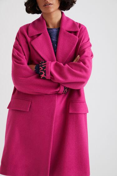 Wełniany płaszcz 3/4 z paskiem | Desigual