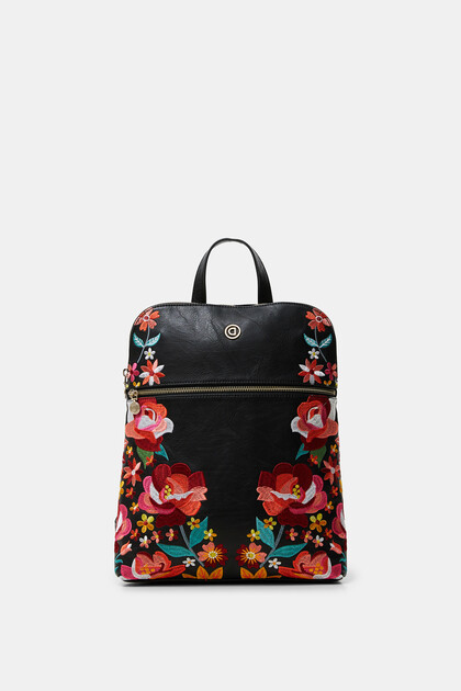 Synthetic leather embroidered floral backpack
