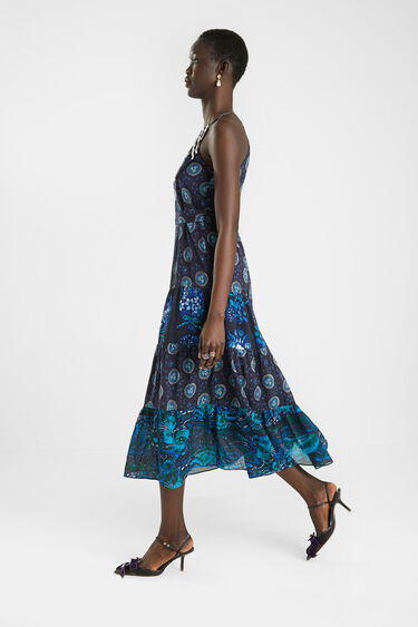 Midi dress embroidered halter | Desigual