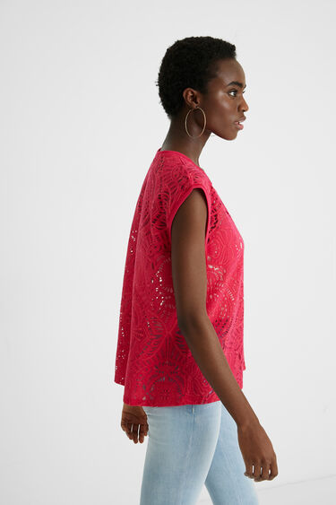 Mouwloos gestanst T-shirt | Desigual