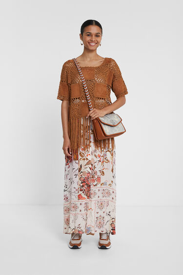 Patch crochet, leather and fringe jumper | Desigual
