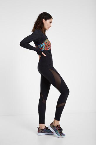 Leggings nero inserti in mesh