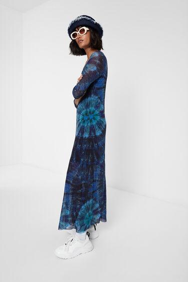 Langes Tie-dye-Kleid aus Viskose | Desigual