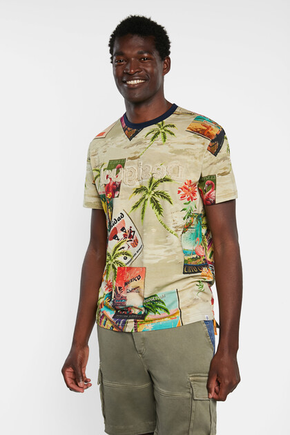 Tropical T-shirt print postcards