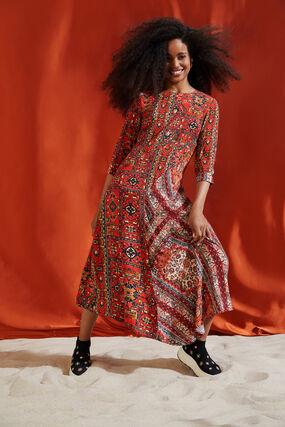 Sukienka z wiskozy z nadrukiem w stylu etnicznym