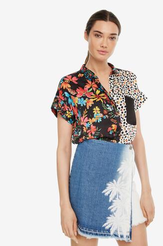 Denim Tropical Wrap Skirt Leiria