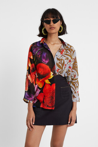 Silk and cotton asymmetric blouse Designed by M. Christian Lacroix