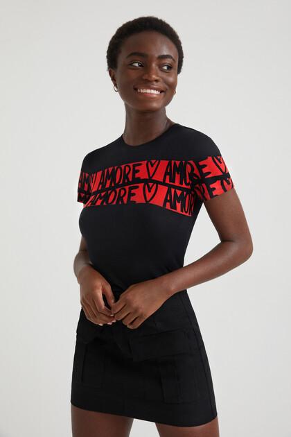 T-shirt malha fina lettering