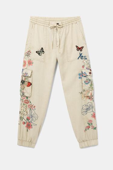 Pantalons llargs florals butxaques | Desigual