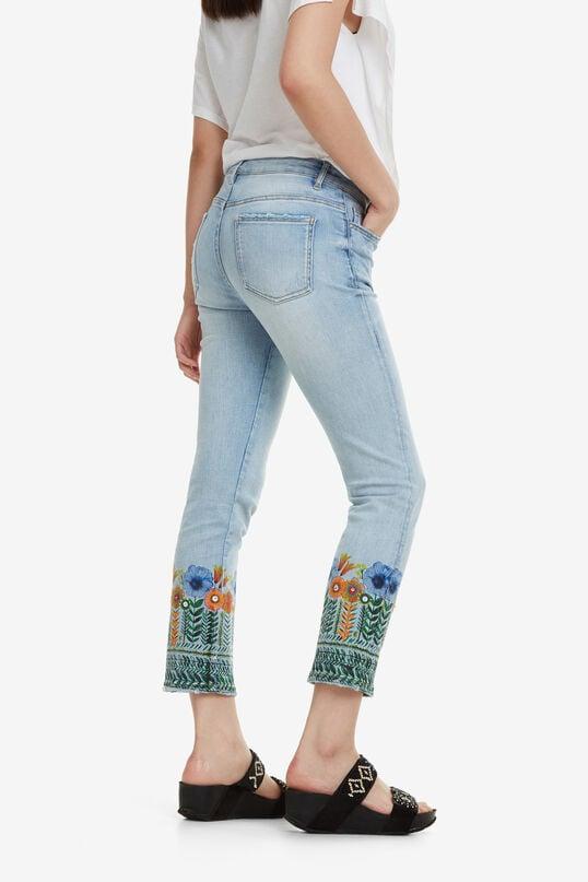 Jeans cropped met bloemen Copenhagen | Desigual