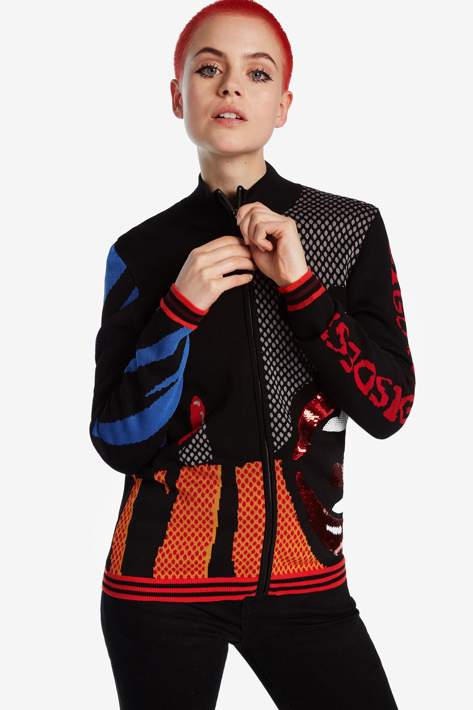 Veste tricot lèvres - BLACK - M