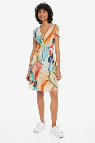 V-neck Arty Print Dress Luana