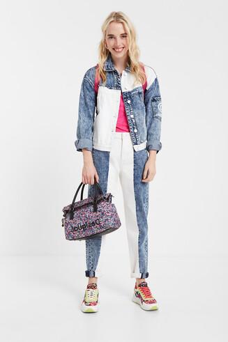 Dwukolorowe jeansy do kostki