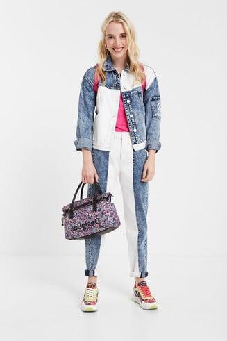 Bicolour ankle grazer jeans