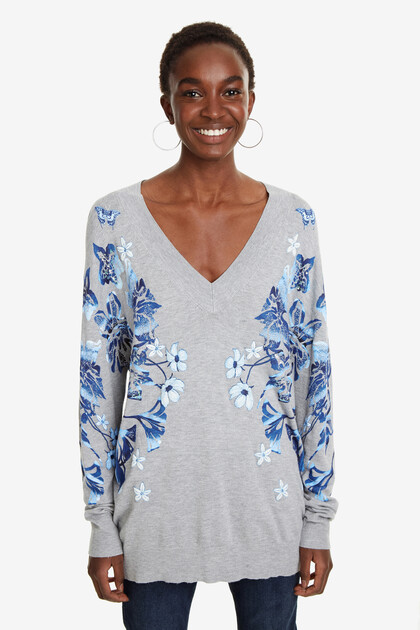 Floral V-neck Jumper Louth