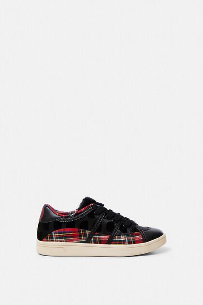 Flache Sneakers mit Tartan