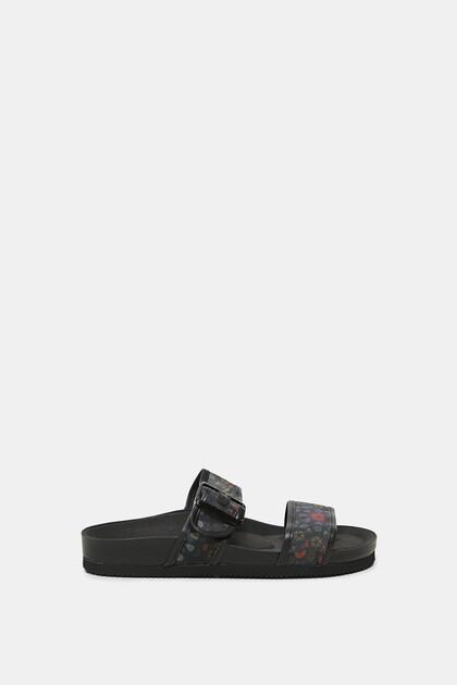 Sandales brides imprimées à boucle