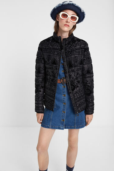 Giacca padded stampata in velluto | Desigual