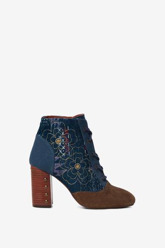 Denim ankle boot wooden heel