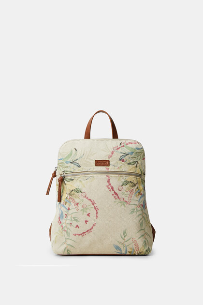 Canvas backpack flowers