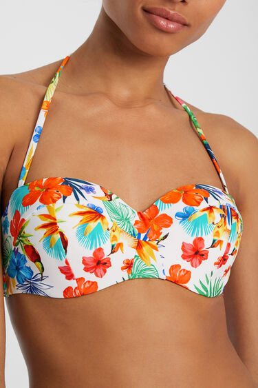 Floral tropical bandeau bikini bra | Desigual