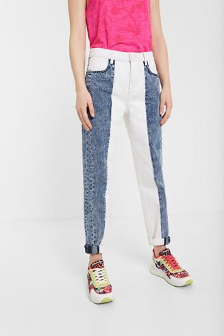Pantalon en jean mum bicolore