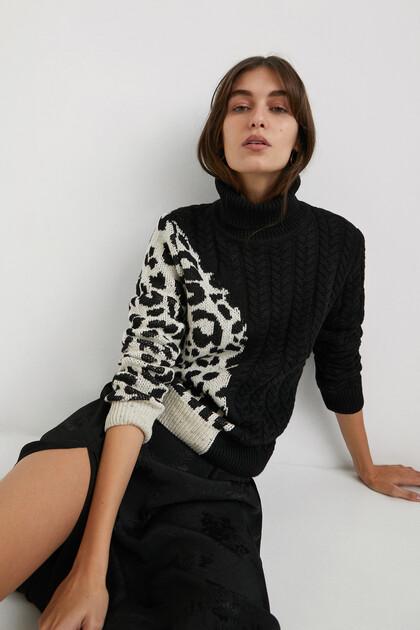 Maglione a maglia stampa animalier