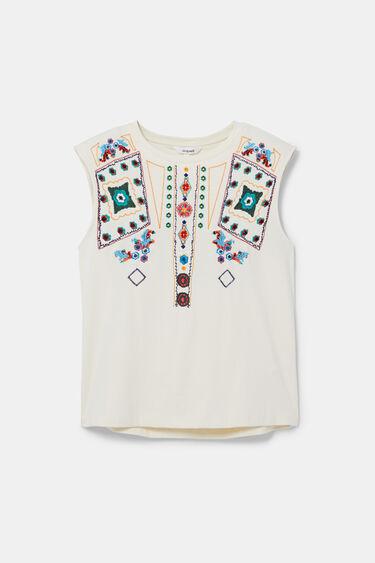 Sleeveless T-shirt embroidered | Desigual