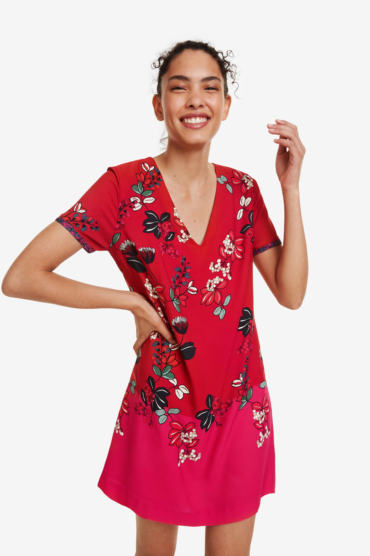 Vestito rosso scollo a V | Desigual
