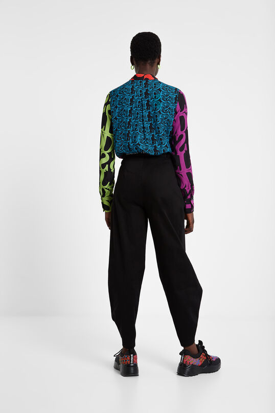 Blouse with tie and Logomania Designed by M. Christian Lacroix | Desigual