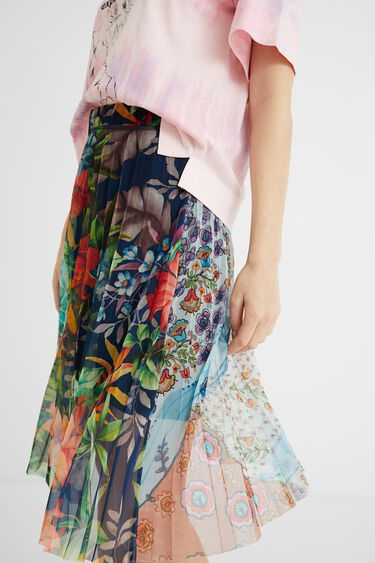 Pleated floral midi-skirt | Desigual