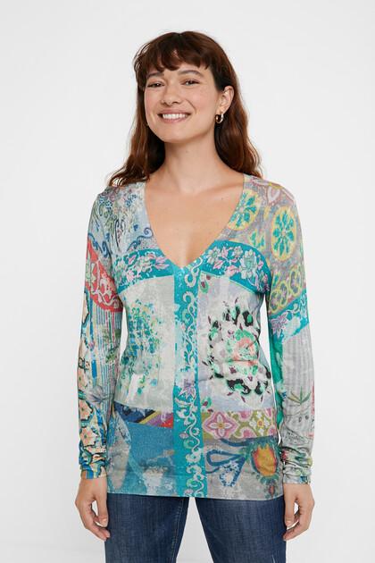 Boho floral fine jumper