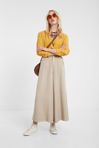 Long flared culotte trousers