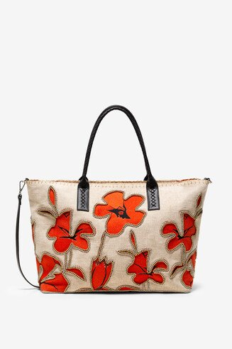 Shopping bag com flores de hibisco e pérolas