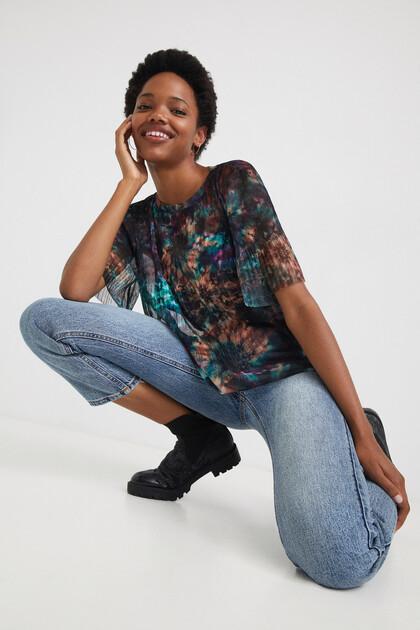 T-shirt van mesh met tie-dye