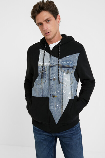 Cotton sweatshirt denim embellishment