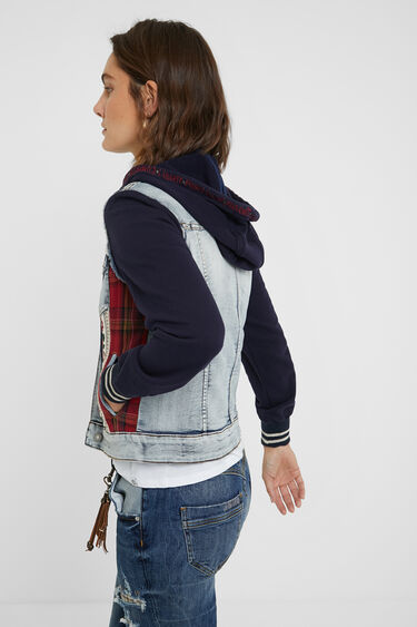 Denim and plush trucker jacket | Desigual