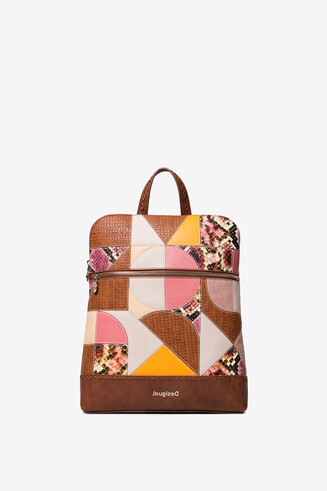 Geometric puzzle patch backpack
