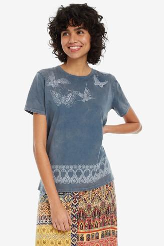 T-shirt basic blu washed Berna