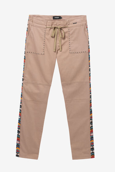 Straight leg trousers with side strips | Desigual